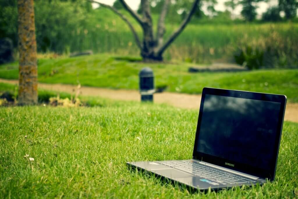 laptop-notebook-grass-meadow